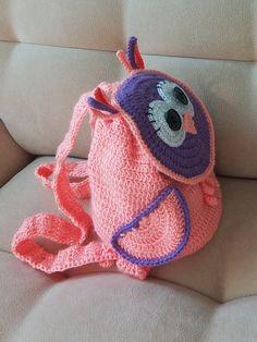Items similar to Crochet owl backpack Gift for girl Colorful crochet bag Handmade Baby shower gift Birthday gift Christmas gift on Etsy Crochet Shell Stitch, Crochet Yarn, Knitting Yarn, Owl Backpack, Crochet Backpack, Crochet Handbags, Crochet Purses, Mochila Crochet, Owl Kids