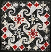 ... quilt combines the traditional blocks Rising Star and Snail's Trail
