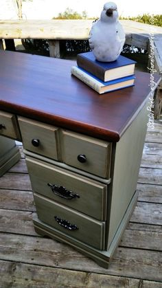 For vintage desk living room; Annie sloan Chateau Grey and Graphite. Top refinished with General Finishes Antique Walnut Gel Stain Painted Bedroom Furniture, Retro Furniture, Refurbished Furniture, Repurposed Furniture, Furniture Makeover, Cool Furniture, Furniture Stores, Dresser Makeovers, Desk Makeover