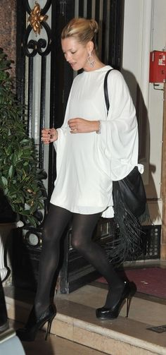 Kate Moss wearing Yves Saint Laurent Trib Two pumps Genevieve Jones Fringe Bag