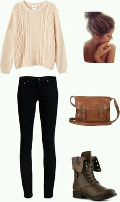 Skinny jeans, cream knit sweater, brown biker boots, brown bag, with your hair in a bun :)