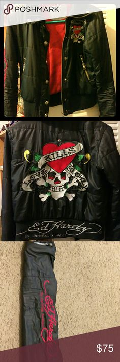 "Ed Hardy Christian Audigier Windbreaker Jacket Ed Hardy Christian Audigier Windbreaker with a ""Loves Kills Slowly""  back design and buttons. Rip on right wrist area. Missing the hood. Great jacket worn to concerts. Size:XS. Ed Hardy Jackets & Coats Puffers"