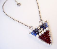 Nautical Necklace with Red White & Blue Gemstones and Anchor Flag Pendant on Etsy, $49.00