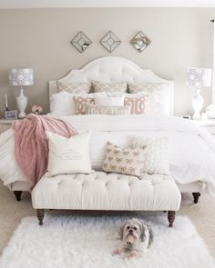 If you are tired of your master bedroom, you can incorporate a few changes that make a big difference. Romantic master bedroom interior design ideas can include updating your wall finishes with a…More Dream Rooms, Dream Bedroom, Home Decor Bedroom, Cozy Bedroom, Bedroom Bed, Bedroom Apartment, White Comforter Bedroom, Target Bedroom, Light Bedroom