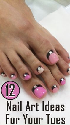Nail Art for toes and nails are something that we all hunt for these days, since nail art has become the next raging fashion. Here are 12 simple nail art ideas that even a beginner can try. Pedicure Designs, Pedicure Nail Art, Toe Nail Designs, Toe Nail Art, Nails Design, Shellac Manicure, French Pedicure, Manicure Ideas, Fancy Nails