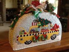 Christmas Taxi needlepoint stitched by Cheryl Timko