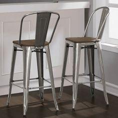 Tabouret Bistro Wood Seat Gunmetal Finish Bar Stools (Set of 2) | Overstock.com Shopping - The Best Deals on Bar Stools