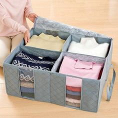Bamboo Charcoal Folding Clothes Storage Bags - Clothes and Crafts Quilt Storage, Storage Boxes, Bag Storage, Storage Bags For Clothes, Clothing Storage, Container Organization, Storage Organization, Organizing Bags, Bamboo Containers