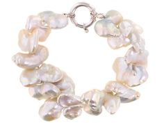 13-30mm White Butterfly Cultured Freshwater Pearl Sterling Silver 9 In