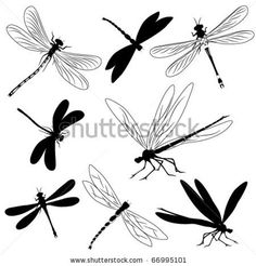 Silhouette dragonfly tattoos