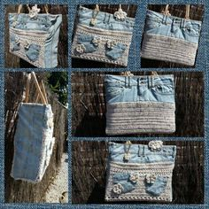 Old jeans became bag.AH tas handbag. Denim with crochet. Love the use of pockets, too.Discover thousands of images about AH tas gepimpt.Made by Iris Bag Crochet, Crochet Handbags, Crochet Purses, Diy Jeans, Recycle Jeans, Denim Handbags, Denim Crafts, Jute Bags, Recycled Denim