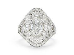 Navette Diamond Pierced Flora Ring, Platinum | McTeigue & McClelland