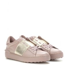 Valentino - Open metallic leather sneakers - mytheresa.com