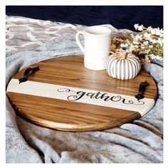Gather Family Round Serving Tray / Fall Wooden Home decor/ Beautiful Wood Serving Tray / Custom Farmhouse kitchen decoration/ Free Shipping / This beautiful, sturdy serving tray is great for any occasion. These Make excellent housewarming gifts. Customize this with your choice of stain