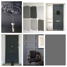 Farrow & Ball Downpipe - New shutter and door color? Farrow And Ball Kitchen, Farrow And Ball Paint, Farrow Ball, Grey Front Doors, Painted Front Doors, Front Door Paint Colors, Deco Design, Grey Paint, Room Colors