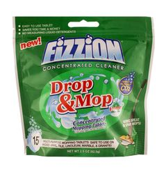 Fizzion Drop & Mop Just drop a tablet into regular tap water for a powerful cleaning solution that is so easy to make.  Works great with Spray Mops.