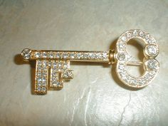 monet gp pave crystals skeleton key brooch by fadedglitter42263, $38.00