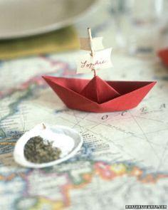 Super cute paper boat place cards