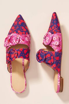 Flavia Pointed-Toe Mules by Anthropologie in Pink Size: 9 W, Flats Spring Boots, Hot Shoes, Women's Shoes, Mules Shoes, Huarache, Pumps, Heels, Shoe Collection, Womens Flats