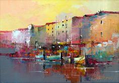 Branko Dimitrijevic, Sunset, Oil on canvas, 25x35cm