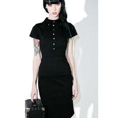 Disturbia Salem Pencil Dress ($70) ❤ liked on Polyvore featuring dresses, empire waist dresses, back zipper dress, stretchy dresses, stretch pencil dress and empire line dress
