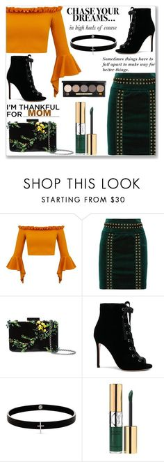 """Chase your dreams"" by sindhuja-coolgirl ❤ liked on Polyvore featuring Pierre Balmain, Oscar de la Renta, Gianvito Rossi, Lynn Ban, Yves Saint Laurent and Bobbi Brown Cosmetics"
