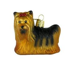 Yorkie, by Old World Christmas. A hand painted, glass, Christmas ornament.