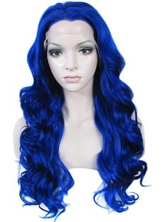 Deep Blue 24 inches Drag Queens Synthetic Lace Front Wig