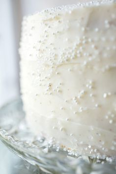 """Fluffy eggnog frosting and sugar snow crystals top this beautiful melt-in-your-mouth """"Winter Snow Flurry"""" white cake. Christmas Tea, Christmas Baking, White Christmas, Christmas Kitchen, Merry Christmas, Cupcakes, Cupcake Cakes, Pretty Cakes, Let Them Eat Cake"""