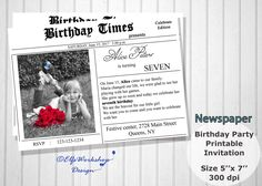 Newspaper invitation, Newspaper birthday invitation, First page invite, Newspaper themed, Photo birthday Invite , Printable, Personalized by ElfsWorkshopDesign on Etsy Newspaper Printing, First Page, New Print, Birthday Party Invitations, To Tell, No Time For Me, Growing Up, Printables, Messages