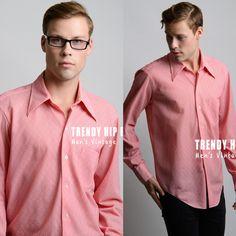 Men's Vintage shirt Men's 70s shirt Men's Top Vintage Red shirt Vintage top Men's Red shirt Dress Shirt Mod - L/XL