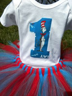 These for the girls birthday! Dr Seuss Cat in the Hat First 1st Birthday by bellassweetboutique, $27.00