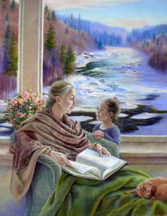 Coeur à coeur - Pierre Lussier (Canadian) - Each grandmother, with whom we can talk about everything, is a great. Reading Art, Woman Reading, Kids Reading, People Reading, Window Art, Canadian Artists, Mother And Child, Art History, Retro