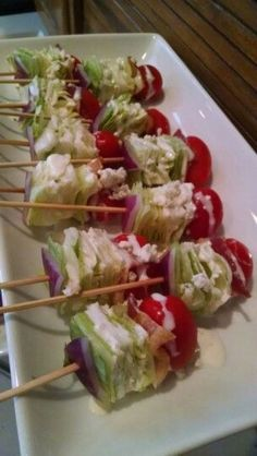healthy snacks - Wedge Salad on a Stick Snacks Für Party, Appetizers For Party, Veggie Party Food, Party Food Platters, Quick Party Food, Bridal Shower Appetizers, Toothpick Appetizers, Boat Snacks, Party Salads