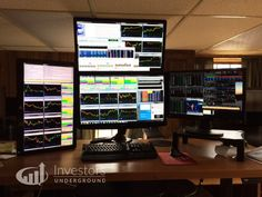 Check out these trading desks and monitors used by top traders from around the world and feel free to add your setup in the comments! Game Room Kids, Game Room Basement, Cool Office Desk, Home Office Setup, Pc Setup, Desk Setup, Trading Desk, Office Plan, Computer Setup