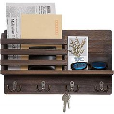 Dahey Wall Mounted Mail Holder Wooden Mail Sorter Organizer with 4 Double Key Hooks and A Floating Shelf Rustic Home Decor for Entryway or Mudroom,Brown Key And Letter Holder, Mail And Key Holder, Wall Key Holder, Diy Key Holder, Letter Holder Wall, Wall Mounted Key Holder, Mail Organizer Wall Mount, Key Organizer, Hanging Organizer