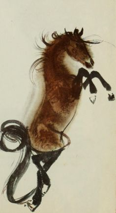 "Illustration by Mirko Hanák. 1971, ""Ryn, the wild horse."" iL #Watercolor #Horse"