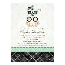 MINT DAMASK BABY CARRIAGE BABY SHOWER CUSTOM INVITES
