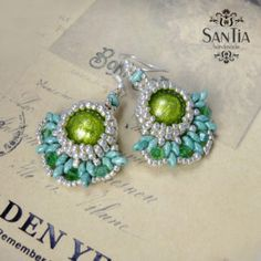 Tyrkysovo-zelené elegantné náušnice