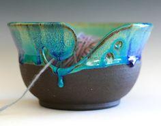 READY TO SHIP, Yarn Bowl, handmade stoneware pottery,handmade ceramic yarn bowl on Etsy, $36.00