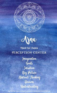 This is our Perceptions Center. Discover more about this Chakra. Learn how to balance and heal your Third Eye Chakra. Chakra Mantra, Chakra Art, Chakra Meditation, Sacral Chakra, Chakra Healing, Crystal Healing, Reiki, Third Eye Tattoos, 3rd Eye Tattoo