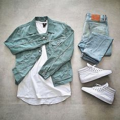 denim jacket outfit grid – Luis Perez - Touching and Emotional Image Hype Clothing, Mens Clothing Styles, Apparel Clothing, Outfit Grid, Mode Man, Cool Outfits, Casual Outfits, Casual Clothes, Moda Blog