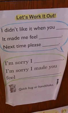 Simple and concise sentence frames to help graders with conflict resolution. Simple and concise sentence frames to help graders with conflict resolution. Coping Skills, Social Skills, Behavior Management, Classroom Management, Education Positive, Physical Education, Conscious Discipline, School Social Work, Elementary Schools