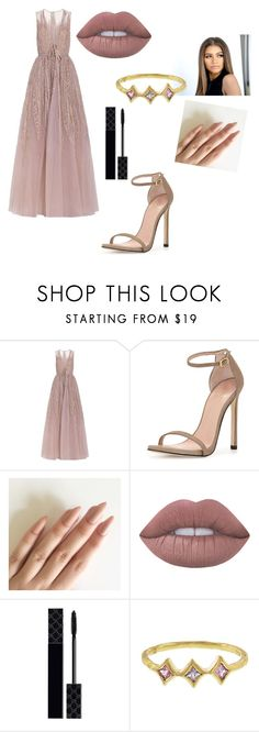"""Make me blush"" by kkmahony ❤ liked on Polyvore featuring Elie Saab, Stuart Weitzman, Lime Crime, Gucci and Cathy Waterman"