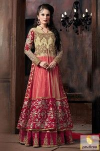 Amazing red pink beige net bridal collection anarkali suit dress is wonderfully adorned. This party wear new designs special collection dress will suits to all ladies. #salwarsuit, #anarkalidress more: http://www.pavitraa.in/store/anarkali-salwar-suit/