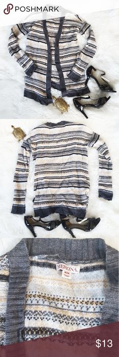 🦃SALE🦃 Trendy striped cotton cardigan, $15 This cardigan is very colorful. It has beige, white, gray, and black stripes. It is a great length and very comfy. It is a size M which I no longer am, so it is up for sale. Excellent condition. Merona Sweaters Cardigans