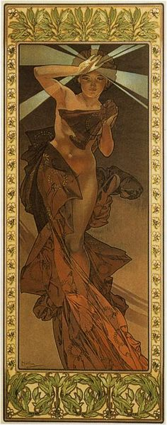 """Morning Star"" from ""The Moon and the stars Series"" (1902) by Alfons Maria Mucha (24 July 1860—14 July 1939), known in English as Alphonse Mucha, was a Czech Art Nouveau painter and decorative artist, known best for his distinct style. He produced many paintings, illustrations, advertisements, postcards, and designs."