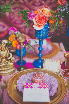 Colorful East Meets West Wedding Ideas from Nine Photography and filled to the brim with vintage decor ideas from Gold Dust Vintage event planners. Indian Wedding Decorations, Reception Decorations, Wedding Themes, Wedding Colors, Table Decorations, Wedding Ideas, Wedding Stuff, Bollywood Theme, Bollywood Fashion