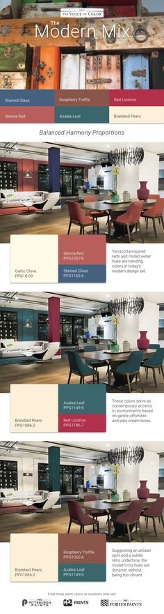 The Modern Mix Designer Color Palette features terracotta-inspired reds and muted water hues which serve as a contemporary accents to environments. These paint colors suggest an artisan spirit and a subtle retro undertone. This modern mix of colors are dynamic without being too vibrant. Get these paint colors tinted in PPG Pittsburgh Paints, PPG Porter Paints & or PPG Paints products.
