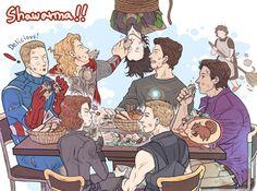 I love that Thor is feeding Loki. And Hawkeye is thinking of chipmunks.